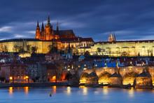 Charles Bridge And Prague Cathedral.
