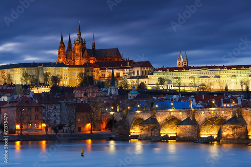 Poster Prague Charles Bridge and Prague cathedral.