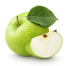 Green Apple With Leaf And Slice Isolated On A White