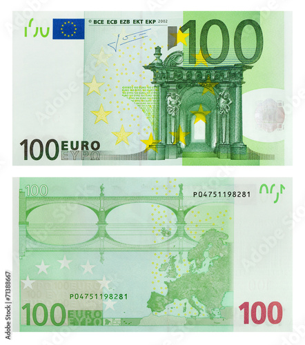 Two sides of 100 euro banknote Wallpaper Mural