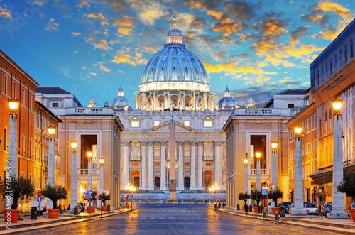 Poster Rome St. Peter's Basilica in Rome by the Via della Conciliazione, Ro