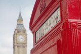 Fototapeta Big Ben - Red Telephone Booth and Big Ben in London