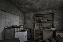 Dilapidated Ramshackle Kitchen In Abandoned House