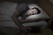 canvas print picture - Mature man cannot get to sleep