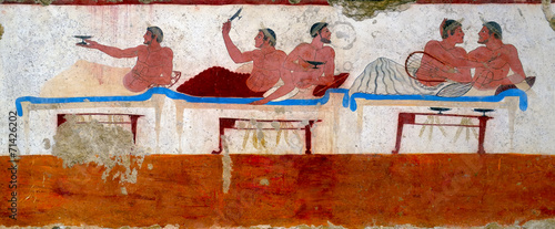 "Fotografie, Obraz  Ancient Greek Fresco in Paestum, Italy. ""Tomb of the Diver"""