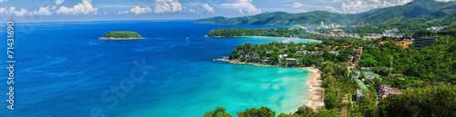 Valokuva Bird-eye panorama of Phuket coastline on sunny day