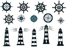 Set Of Marine Or Nautical Them...