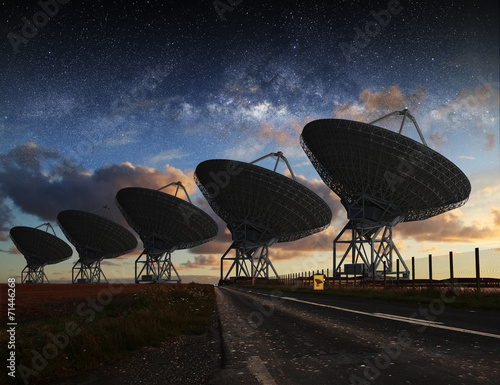 Radio Telescope view at night