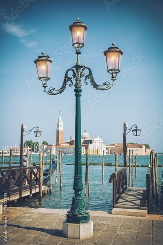 In de dag Milan St. Mark square and lamps, Venice, Italy