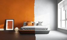 3d Interor Of Orange-white Bed...