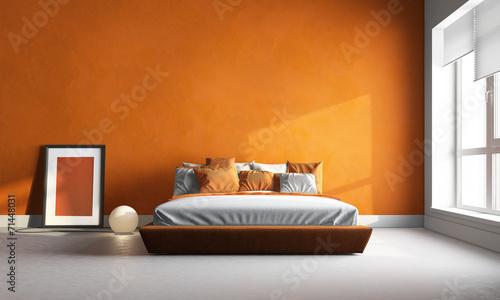 Photo  3d render of orange bedroom