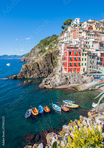 Poster Ligurie Stunning view of Riomaggiore with cliffs, homes and boats - Cinq