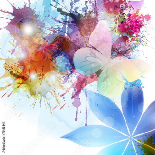 Foto op Canvas Vlinders in Grunge Abstract background in grunge style with flower and butterfly.