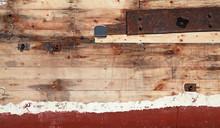 Old Wooden Ship Fragment, Hull Under Renovation, Background Phot