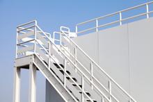 White Stairway To The Captain Bridge On The Big Ship