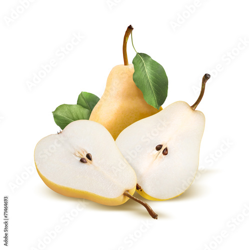 Pears bartlett whole and split isolated on white Canvas Print