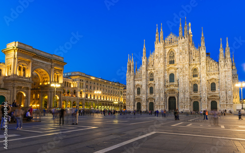 Spoed Foto op Canvas Milan Night view of Duomo, Vittorio Emanuele Gallery in Milan, Italy