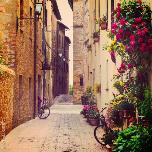 Fototapeta Ulica w Pienzie, Włochy na ścianę