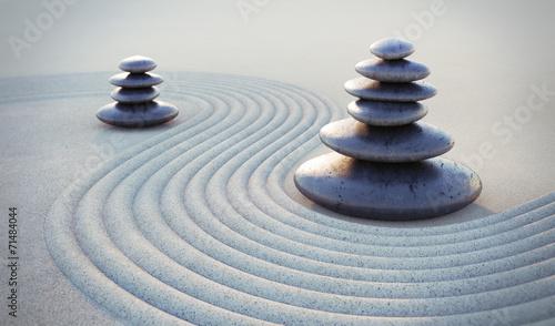 Foto op Plexiglas Stenen in het Zand Zen-Steine im Sand