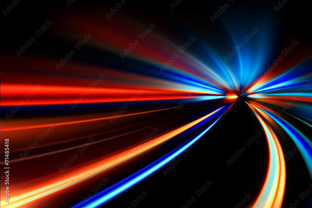 Fototapeta speed motion on night road