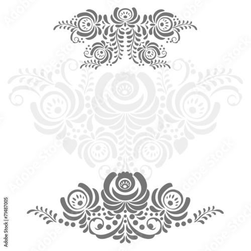 Russian ornaments art frame in gzhel style Slika na platnu