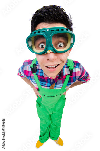 Foto op Aluminium Carnaval Industrial worker isolated on the white background