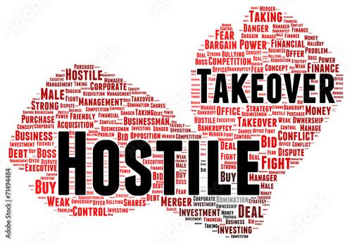 Fotografie, Obraz  Hostile takeover word cloud shape