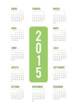 2015 Minimal Calendar. Spanish