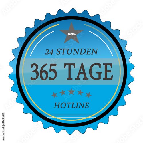 Fényképezés  ql56 QualityLabel - 24 Stunden 365 Tage Hotline - blau g2033