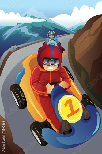 Kids racing in a go-kart - Buy this stock vector and explore
