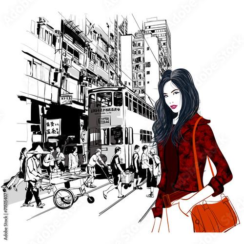 komiksowa-grafika-ulica-w-hong-kongu