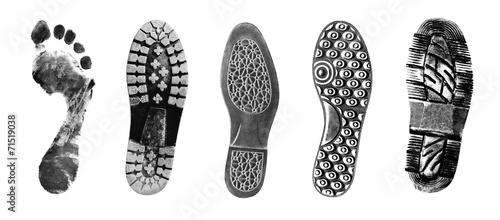 Fotografía Shoe and foot printouts