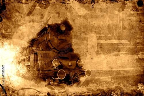 Fotografia old steam train sepia background