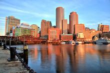 Boston Skyline With Financial District, Boston Harbor At Sunrise