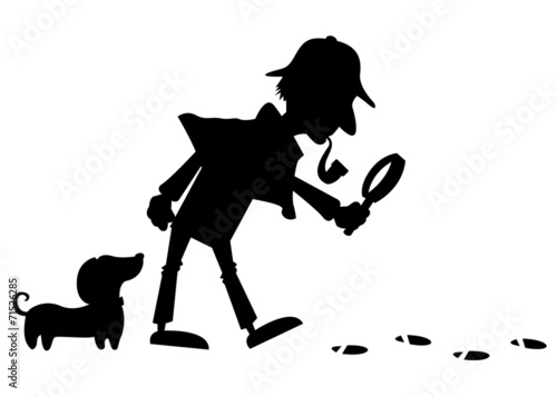 Fotografie, Obraz  Detective silhouette