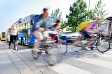 Motion Blurred Bicyclists In T...