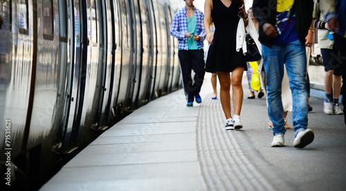 Fotografie, Obraz  Passengers and commuter train