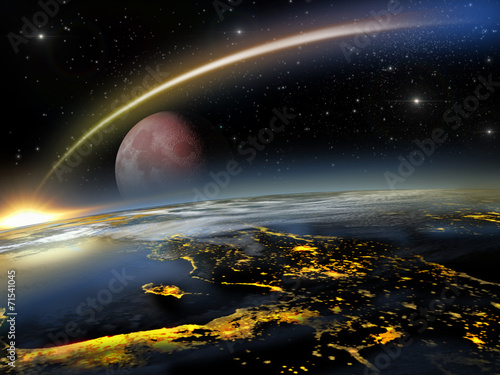 asteroid hitting earth with a rising red moon buy this stock