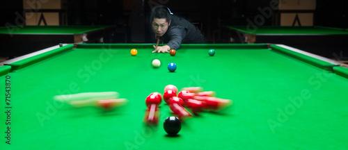 Fotografie, Obraz  Handsome man playing snooker