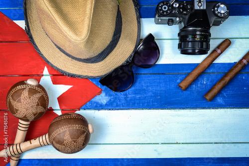 Cuba related items on national flag Slika na platnu