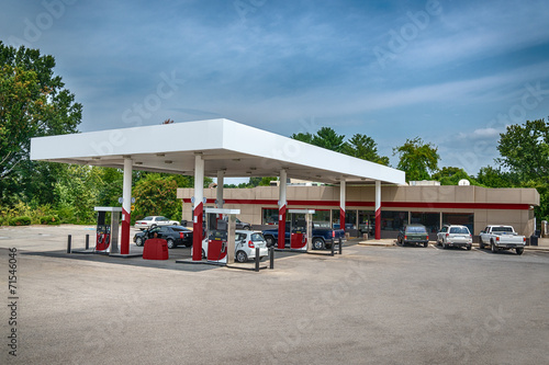 Generic Gasoline Station Convenience Store Wallpaper Mural