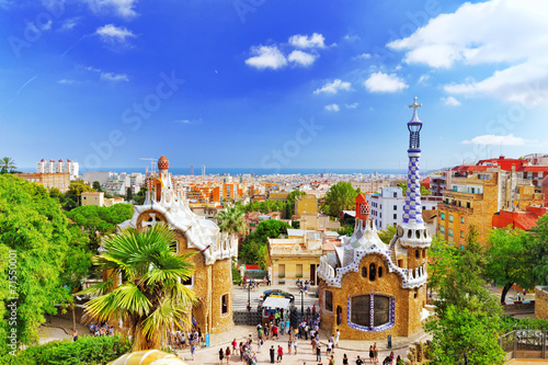 Poster Barcelona BARCELONA, SPAIN - SEPT 02,2014 :Gorgeous and amazing Park Guel