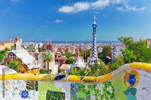 Spoed Foto op Canvas Mediterraans Europa BARCELONA, SPAIN - SEPT 02,2014 :Gorgeous and amazing Park Guel