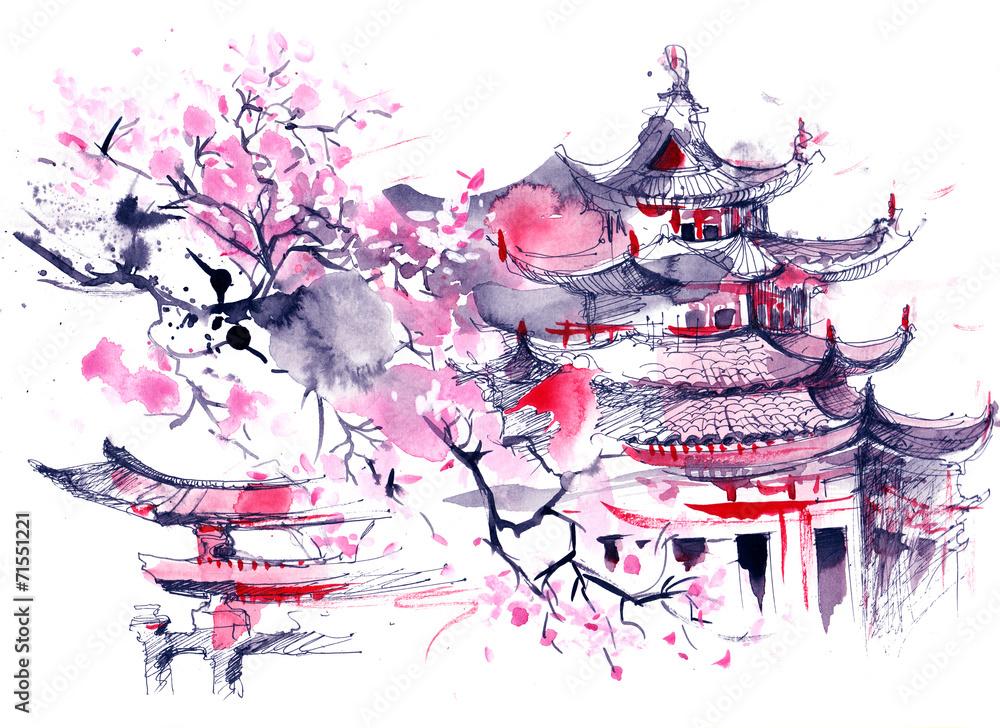 Fototapety, obrazy: Japonia, obraz malowany akwarelą