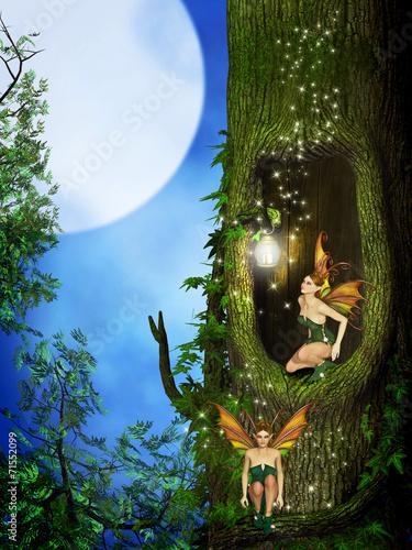 fototapeta na lodówkę Wróżka w lesie fantasy