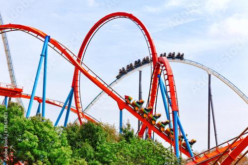 Stampa su Tela Roller Coaster in funny amusement  park