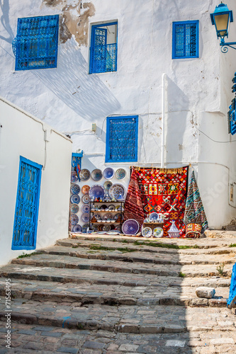 Staande foto Tunesië Street in the town of Sidi Bou Said, Tunisia