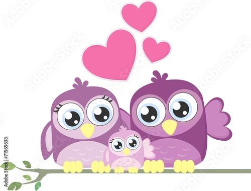 Canvas Prints Owls cartoon cute birds family love