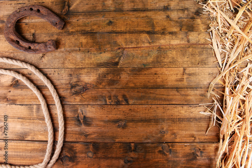Fototapeta American West still life with old horseshoe and cowboy lasso