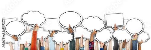 Fotografía  Group of Hands Holding Speech Bubbles